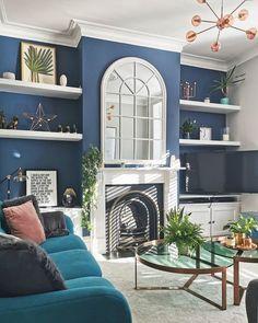 Navy Living Rooms, Dark Blue Living Room, Blue Living Room Decor, Living Room Color Schemes, Living Room Colors, New Living Room, Blue Dining Rooms, 1930s House Interior Living Rooms, Dark Blue Lounge