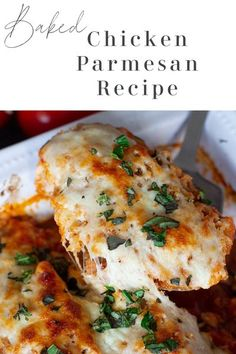 An easy Baked Chicken Parmesan recipe made with parmesan crusted chicken breasts topped with melted mozzarella cheese and fresh basil. Not only is this a healthy version of a classic recipe, but it's a quick and easy family favorite everyone will love! #chickenparmesan #bakedchickenparmesanrecipe #chickenparmigiana | recipesworthrepeating.com Chicken Parmesan Recipes, Healthy Chicken Recipes, Vegan Recipes Easy, Turkey Recipes, Italian Recipes, Baked Chicken Mozzarella, Baked Parmesan Crusted Chicken, Italian Entrees, Kitchen Recipes