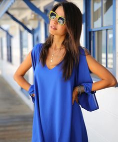 Bikini Luxe Wanderlust Beach Cover up - This crisp Bikini Luxe Wanderlust Blue Chiffon Dress is the perfect dress for Summer. The loose fit of this chiffon dress makes it ultra comfortable, and the long sleeves are slit down to the wrists, to give you a sophisticated look. #bluecoverup