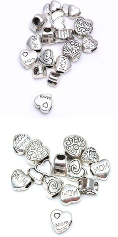 30pcs LoveMum Heart Shaped Flower Loose Spacer Metal Bead For Jewelry Making Mum Day Diy Gift Silver Color Charm Wholesale Mixed