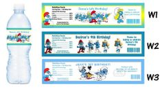 Smurfs Smurfette ~ Printed Water Bottle Labels ~ Birthday Party Favors Supplies