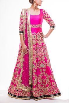 Hot Pink Floor length Bridal Anarkali with zardozi work with midnight blue accents, paired with hot pink soft net dupatta with embroidered Border