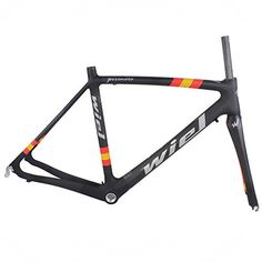 Road Bike Frames - Wiel Full Carbon Fiber 700c Road Bike Frame Intergrated Forkheadsetseatpost Clamp Red Yellow 480500520mm B111 *** You can find out more details at the link of the image.