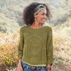 """VICTORIA PULLOVER--V-necked front and back with pointelle stitching throughout, our cropped pullover is a clear winner for seasons to come. It's hand knit of cotton/acrylic yarn in a melange of stitches. Hand wash. Imported. Exclusive. Sizes XS (2), S (4 to 6), M (8 to 10), L (12 to 14), XL (16). Approx. 21""""L."""