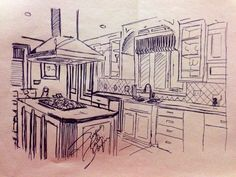 Kitchen project sketch reproduced  by me 2014 Suzanna Paulla Bomfim
