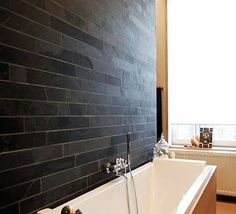 black slates strips on bathroom wall  Slate Strip Cladding - Riven