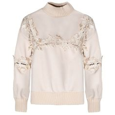 Ivory Floral Cut Out Sweater ($72) ❤ liked on Polyvore featuring tops, sweaters, ribbed sweater, ivory sweater, pink floral top, winter white sweater and floral top