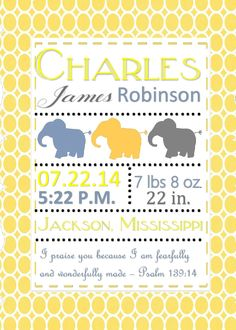 Printable DIY Baby Birth Announcement with Bible verse (Psalm 139:14) Elephants (Digital File) by PerfectedbyGrace on Etsy