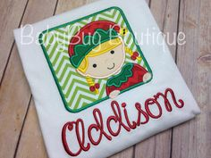 Boys or Girls Christmas Elf Box Applique by BabyBugBoutiqueNOLA