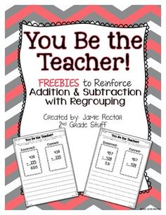 A {FREEBIE} that integrates math computation and writing when learning addition and subtraction with regrouping. by Janice Phillips Math Teacher, Math Classroom, Teaching Math, Classroom Ideas, Teaching Ideas, Future Classroom, Teaching Tools, Teacher Stuff, Second Grade Math