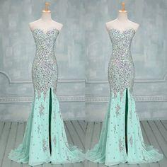 mint prom dress,long prom dress,beaded prom dress,mermaid prom dress,prom dress with slits, BD535 #moddress #fashion #shopping #promdress