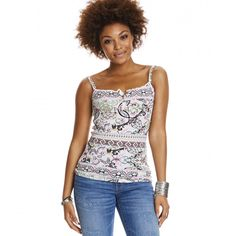 drop needle tank top MULTI