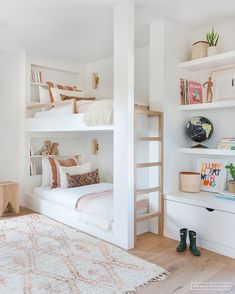 White and bright neutral girls bedroom design with built in bunk beds, built in shelving and tones of blush - Amber Interiors Modern Bunk Beds, Custom Bunk Beds, Double Bunk Beds, Kids Double Bed, White Bunk Beds, Twin Beds, Twin Twin, Built In Bunks, Built Ins