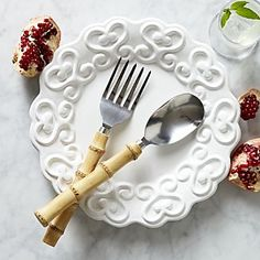 Riviera Bamboo Serving Spoon and Serving Fork