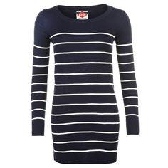 Lee Cooper Stripe Long Knit Jumper Ladies   Fine Knit