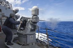 Petty Officer 2nd Class Antonio Pedraza manually shoots the starboard MK 38 25mm gun mount during a live-fire exercise aboard the Arleigh Burke-class guided-missile destroyer USS Curtis Wilbur (DDG 54).