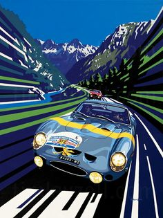 Lucien Bianchi (Ferrari 250 GTO) winner of the Tour de France illustration by Tim Layzell – Atomic Samba. Auto Poster, Car Posters, Vw Vintage, Vintage Race Car, Auto Illustration, Ferrari 250 Gto, Ferrari 2017, Up Auto, Porsche Classic