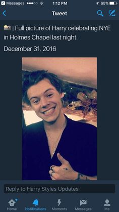 How he should be smiling every day of his life :) Harry Styles in Holmes Chapel on New Years Eve