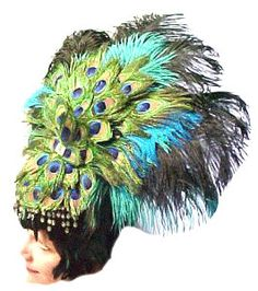 Not sure where I'd wear this but I still want it. Peacock Feather Large Showgirl Headdress Large by sajeeladesign, $134.95