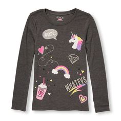 Girls Long Sleeve Glitter Icon Doodles Graphic Tee - Gray T-Shirt - The Children's Place