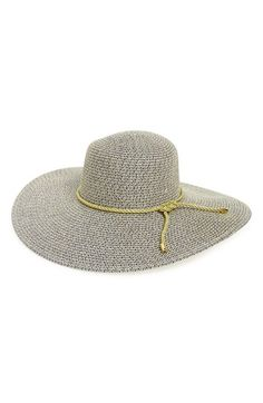 Rope Trim Woven Straw Floppy Hat  72935e34184a