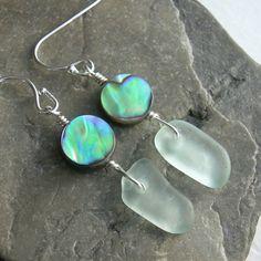 Lake Erie Beach Glass Earrings, Green Abalone Jewelry, Sea Glass Jewelry