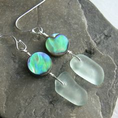 Lake Erie Beach Glass Earrings, Green Abalone Jewelry, Sea Glass Jewelry