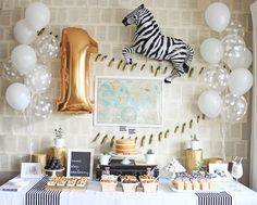 Black and White First Birthday Photography: Laura Derksen… Zebra Party, Safari Party, Jungle Party, Party Animals, Animal Party, Birthday Table, Boy First Birthday, Boy Birthday Parties, Children Birthday Party Ideas