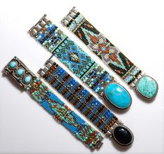 Great beaded bracelets!  Love the large stone connectors!