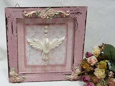QUADRO ESPIRITO SANTO Mini Books, Pretty In Pink, Shabby Chic, Santa, Frame, Wall, Artist, Crafts, Diy