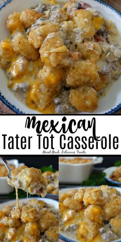 Mexican Tater Tot Casserole is super cheesy, loaded with crunchy tater tots, ground beef, black beans, sour cream and Tater Tots, Mexican Tater Tot Casserole, Ground Beef Casserole, Hamburger Casserole, Bean Casserole, Tator Tot Casserole Recipe, Hamburger Dishes, Beef Dishes, Chicken Casserole