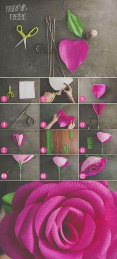 kwiat z bibuły zrób to sam