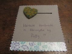 #Hairslides #Handmade in #Harrogate by Poppy. A gorgeous green felt heart with little beads on. My range of handmade hairslides are available at Hush Jewellery shop in the Victoria Shopping Centre in Harrogate, North Yorkshire. Come in and see us, we have a fantastic range of jewellery, scarves and accesories. Or have a look at the shop on their Twitter, @HushJewellery, and my hairslides on Twitter @Poppys_Buttons. Thank you!
