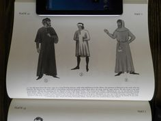 (i) An old man from the year I 350, in a long flowing surcoat, with wide half-sleeves to the elbow; the garment is fastened at the neck with two buttons, the sleeves are lined with a contrasting coloured material; under them show the long, narrow tunic sleeves.