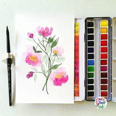 #calligrafikas | Paper: Art Spectrum 230gsm Paint: Sennelier watercolors Brush: Silver Brush Black Velvet round no. 10