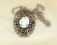 Frosted Glass, Black Rhinestone Cameo Pendant, Necklace - Vintage via Etsy
