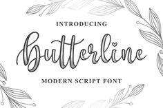 Butterline - Modern Script Font by Blankids on Envato Elements Modern Script Font, Script Logo, Cute Fonts, All Fonts, Awesome Fonts, Police Script, Slab Serif, Free Fonts Download, Font Free