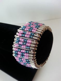 pink and teal safety pin bracelet