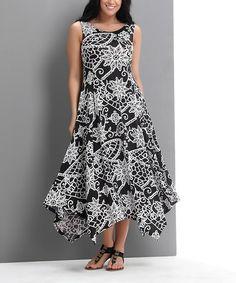 Look at this #zulilyfind! Black & White Lace Print Scoop Neck Handkerchief Dress - Plus #zulilyfinds