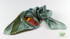 Silk Neckerchief, Small Square Silk Satin Scarf, Hand Paint with Butterfly, Batik Scarf, Green Silk Scarf, Woman Neckerchief Scarf Gift by SilkFantazi on Etsy