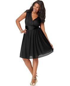 Trixxi Plus Size Prom Dress, Sleeveless Banded Empire A-Line - Plus Size Dresses - Plus Sizes - Macy's