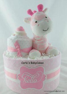 Giraffe diaper cake  Baby diaper cake  Baby shower