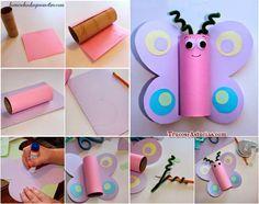 manualidad infantil para hacer una mariposa con el rollo de papel de wc