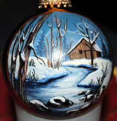 Hand painted with acrylic paints. Detailing an old barn after an evening snow fall. Something I remember as a kid growing up in upstate New Painted Christmas Ornaments, Hand Painted Ornaments, Holiday Ornaments, Christmas Art, Christmas Projects, Handmade Christmas, Christmas Tree Ornaments, Holiday Crafts, Christmas Decorations