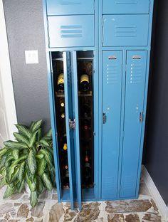 gym locker turned wine storage, home decor, organizing, repurposing upcycling, shelving ideas, storage ideas