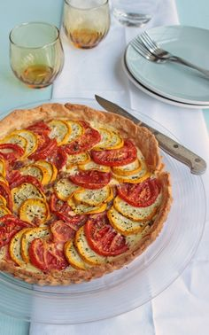 Tomato and Courgette Tart - for when the tomatos from the garden arrive. nice recipe