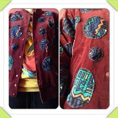 draw random circles on material, undo lil bit of lining,stitch circles on jacket, stitch back lining