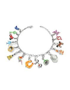 Brightly colored charms create a fun look with a carneval-esque theme. Charms include: a cowboy boot, key, scooter, fish, a gold coin, broom, parrot, horse shoe, Vespa, a witch's hat, a cowboy hat, clown, horse, the number 13 and a butterfly.Signature box included. Made in Italy. #Jewelry #fashion #style #women