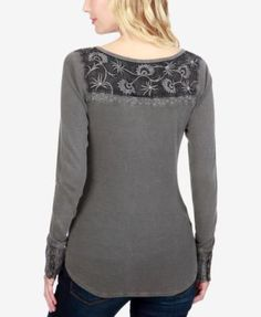 Lucky Brand Embroidered Thermal Top - Tan/Beige XL