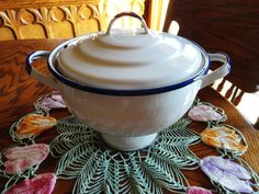 Vintage White Enamelware Soup Tureen